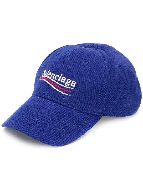 77e890e7 Balenciaga Embroidered Cotton Baseball Cap - Blue - One Siz In 4277 Blue.  Farfetch