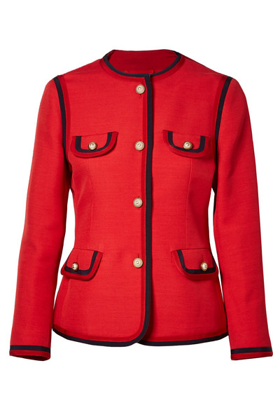 e1445294a16 Gucci Faux Pearl-Embellished Wool And Silk-Blend Jacket In Red ...
