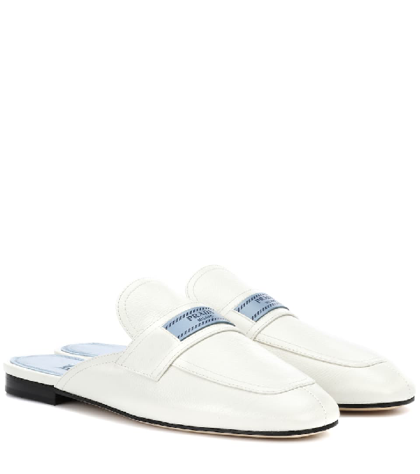 0428a5460f26 Prada Leather 10Mm Mule Loafer With Logo In F0009 White | ModeSens