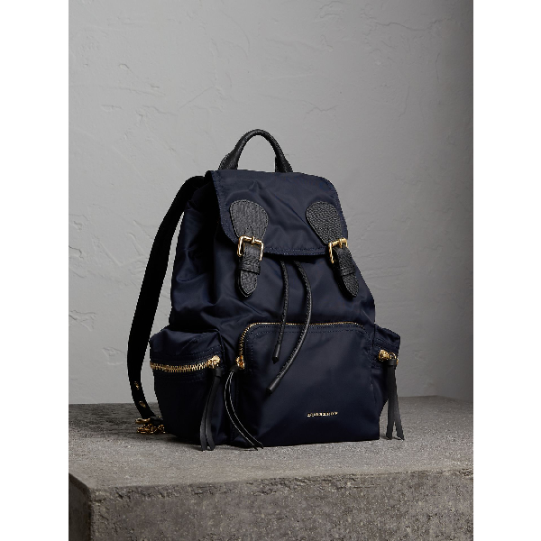 6976676a04bf Burberry The Large Rucksack In Technical Nylon And Leather In Ink ...