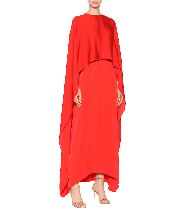 e3d4a4b21de Stella Mccartney One Side Long Cape Belted Jersey Evening Gown In Red