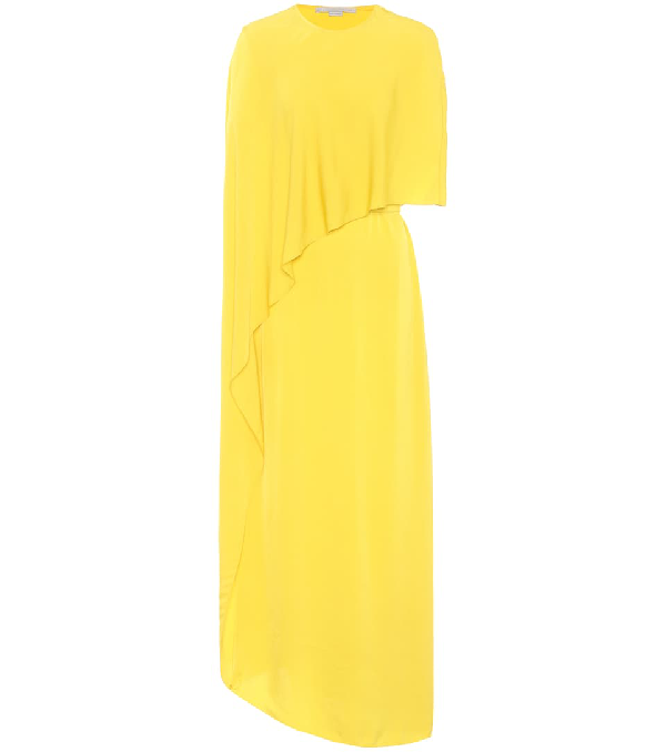 e3fdd884967 Stella Mccartney One Side Long Cape Belted Jersey Evening Gown In Yellow