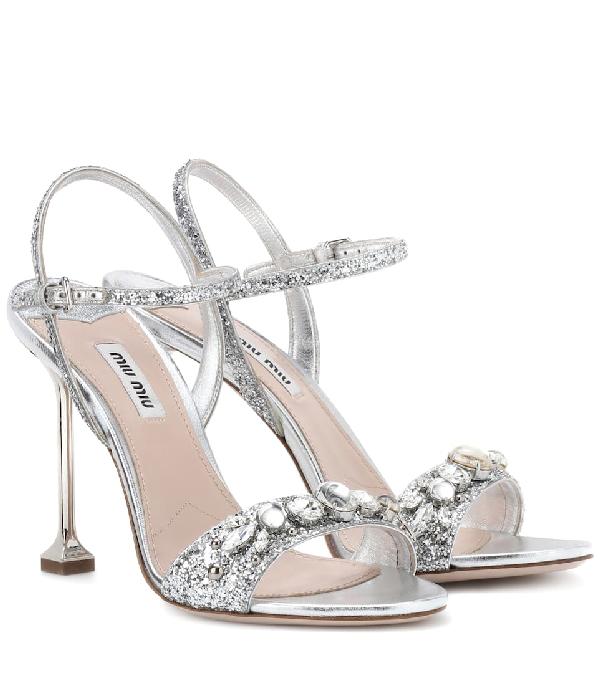 015d2d71db90 Miu Miu Embellished Ankle Strap Sandal In Metallic