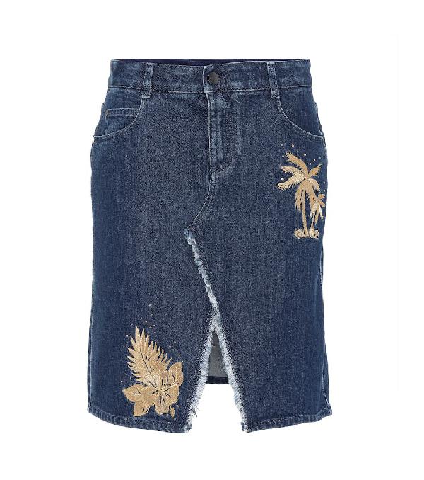 3b5f4213c6 Stella Mccartney Embroidered Denim Skirt In Midnight | ModeSens