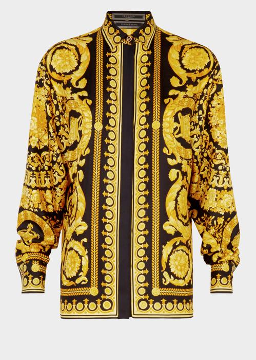 5dea215e Versace Baroque-Print Silk Blouse, Yellow/Black In Multi | ModeSens