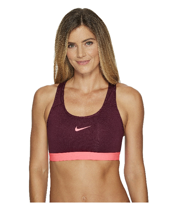 Nike Pro Classic Padded Medium Support Sports Bra In Bordeaux Racer Pink Racer Pink Modesens