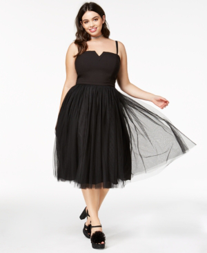 City Chic Trendy Plus Size Strapless Tulle Dress In Black | ModeSens