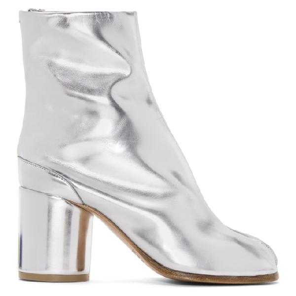 Maison Margiela Ssense Exclusive Silver Tabi Boots Modesens