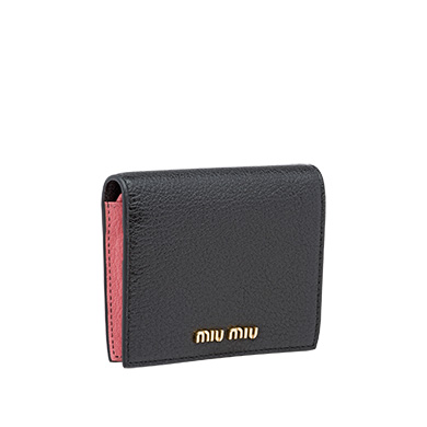 f40de893ccaf Miu Miu Single Color Madras Leather Wallet In Black Rose