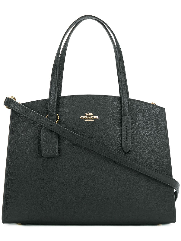 03781e6f3f7acf Coach Charlie Polished Pebbled Leather Carryall Tote Bag In Black ...