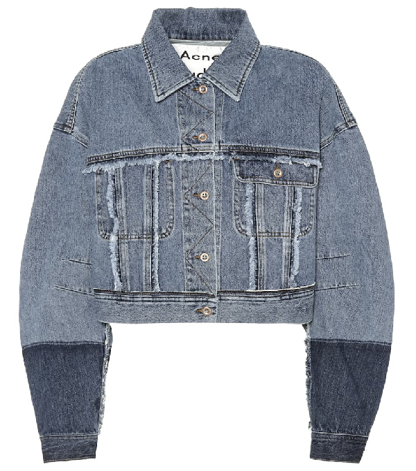 0cdacedb37 Acne Studios Kremi Two-Tone Cropped Distressed Denim Jacket W  Raw-Edges In