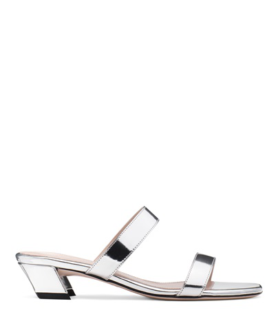 7be665b378fc Stuart Weitzman Ava Low-Heel Metallic Leather Slide Sandals