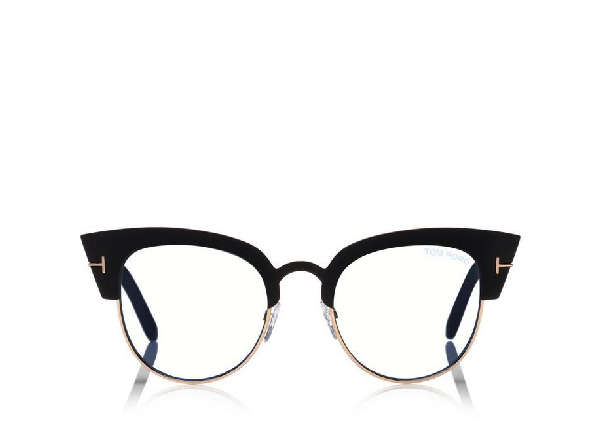 ebd3ba78aadb Tom Ford Alexandra Cat-Eye Metal   Acetate Optical Frames In Black ...