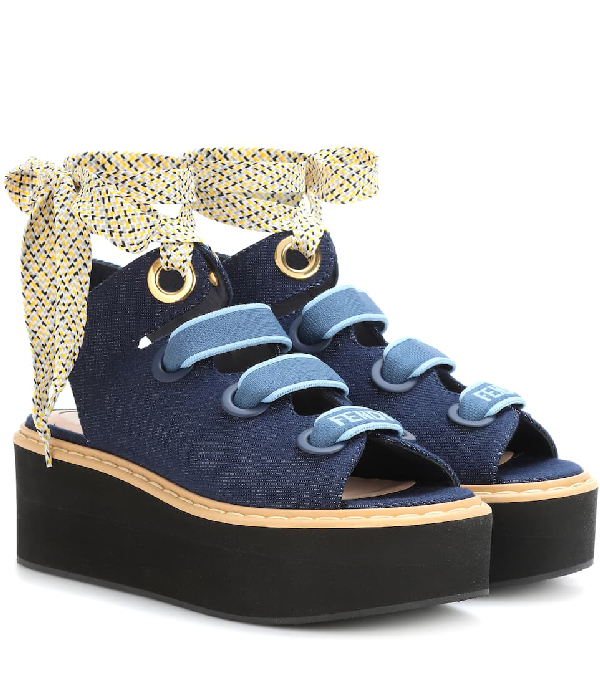 149947cb9 Fendi Denim Lace-Up Platform Sandal
