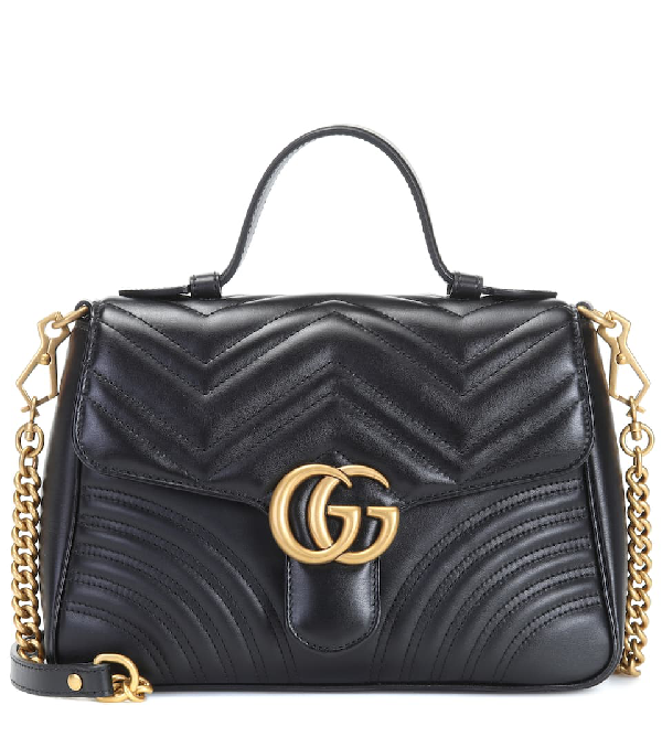 c795391b8235 Gucci Gg Marmont Small Chevron Quilted Top-Handle Bag With Chain Strap In  Black