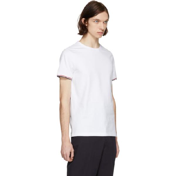 97e1e9dbd Striped Trim V-Neck T-Shirt in White