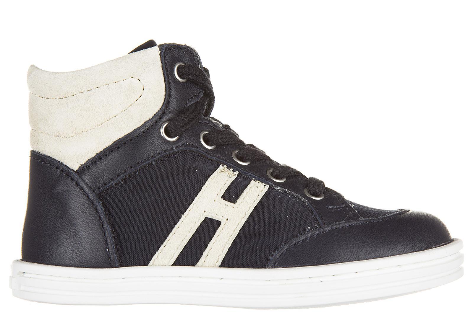 Hogan Rebel Boys Shoes Child Sneakers Alte Pelle Rebel R141 In ...