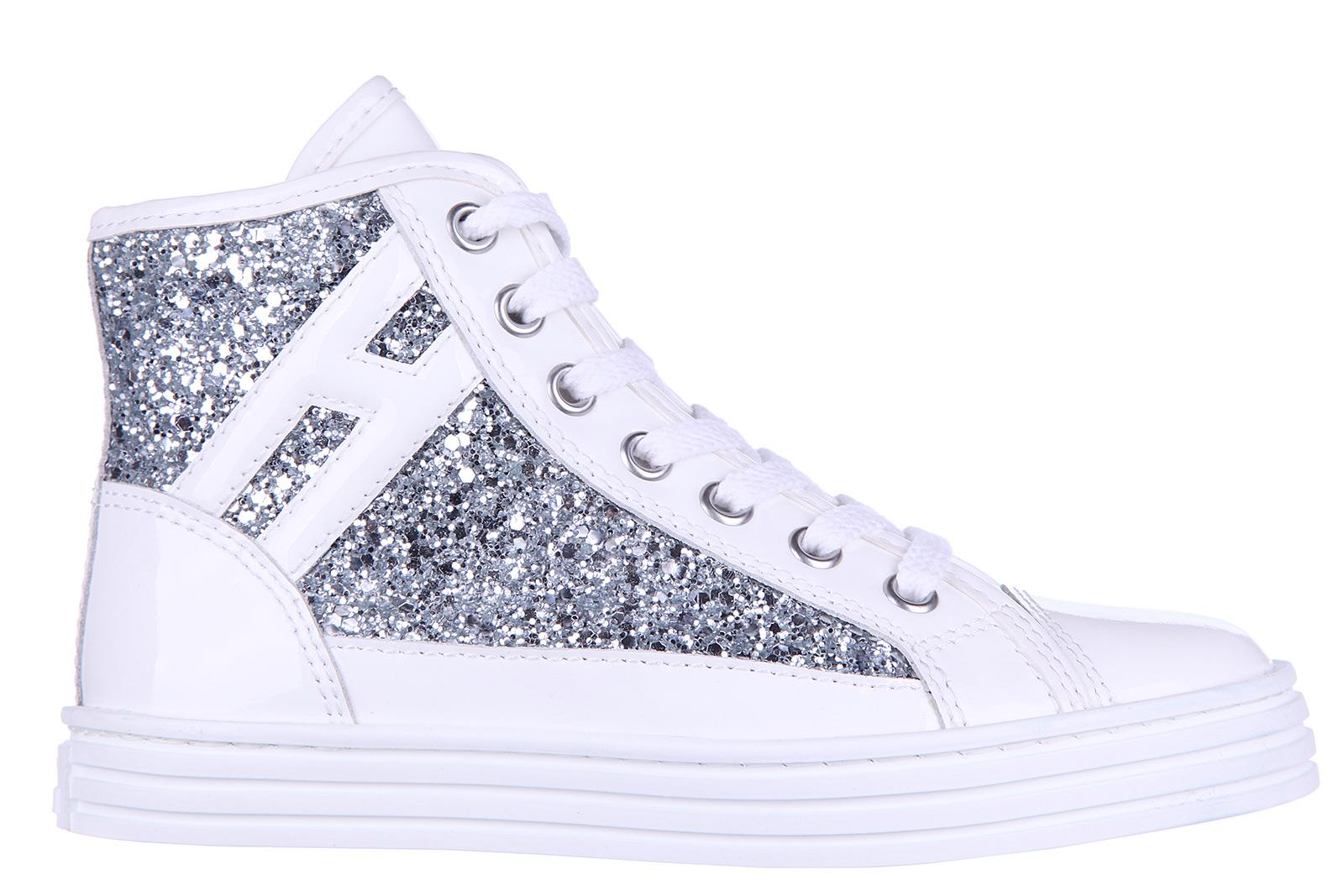 Hogan Rebel Girls Shoes Child Sneakers Alte Pelle R 141 Glitter ...