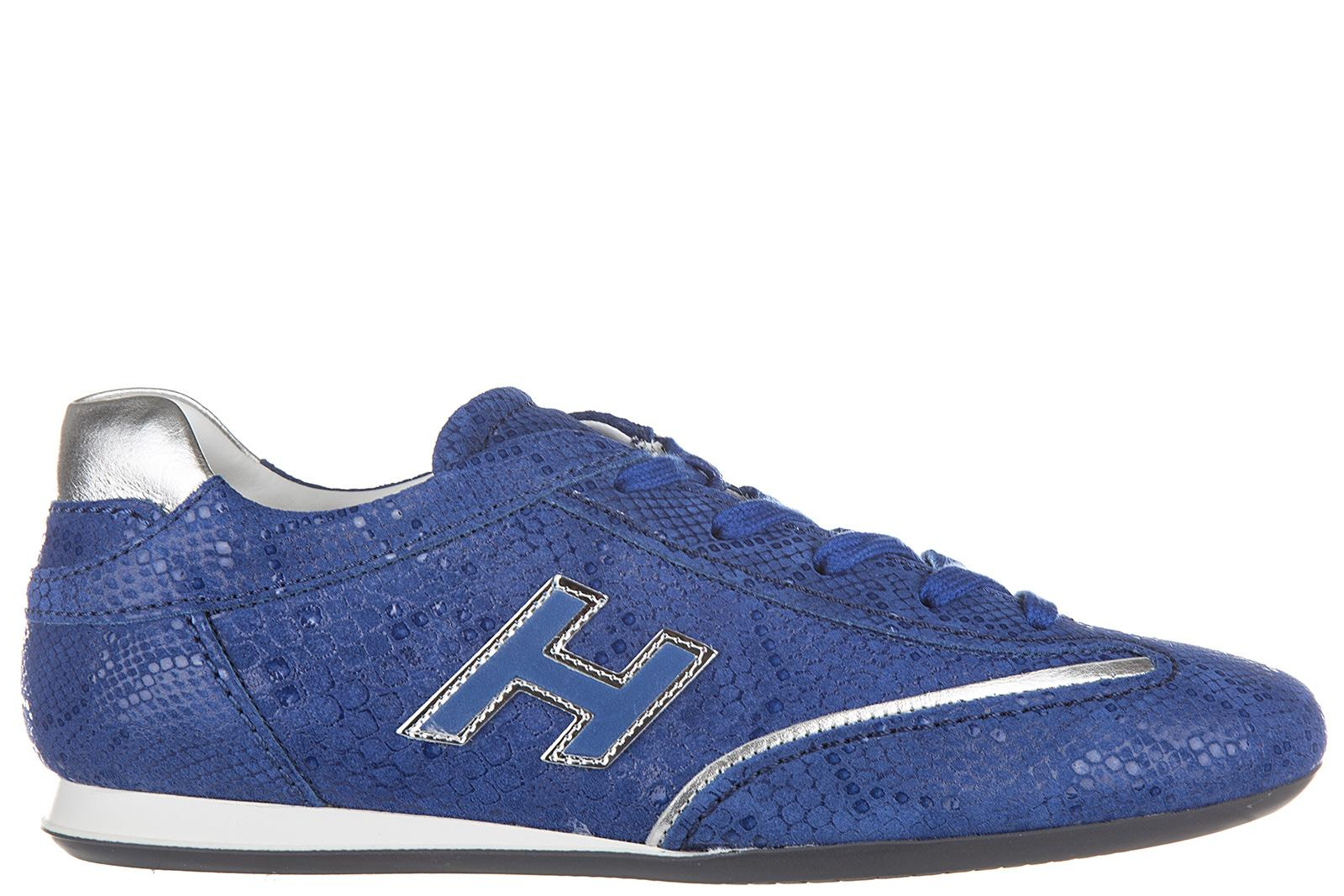 9a4d0c2534235 Hogan Women s Shoes Leather Trainers Sneakers Olympia H Flock In Blue