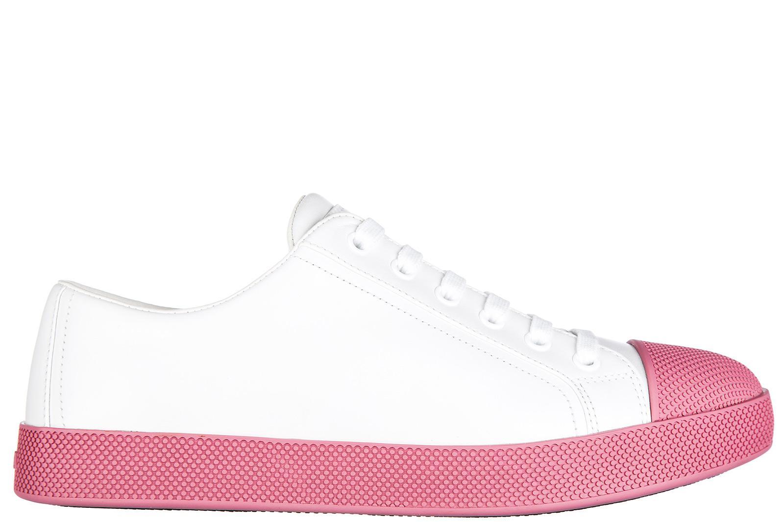 1ec6b61fba1e Prada Women s Shoes Leather Trainers Sneakers Vitello Soft In White ...