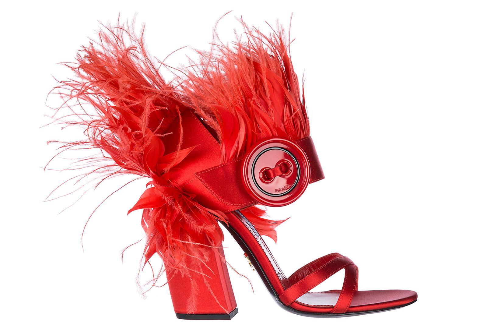 ab9db382c92 Prada Women s Heel Sandals In Red