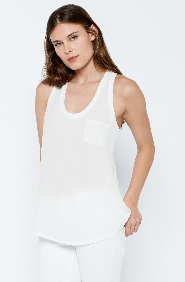 Joie Alicia Silk Racerback Tank Top In Porcelain