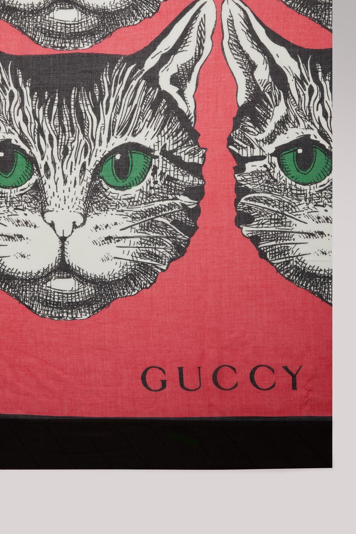 d2ba1fd8f5c166 Gucci Mystic Cat Print Modal Silk Shawl | ModeSens