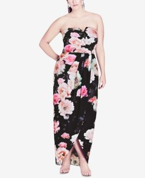 Trendy Plus Size Strapless Maxi Dress in Pink Floral