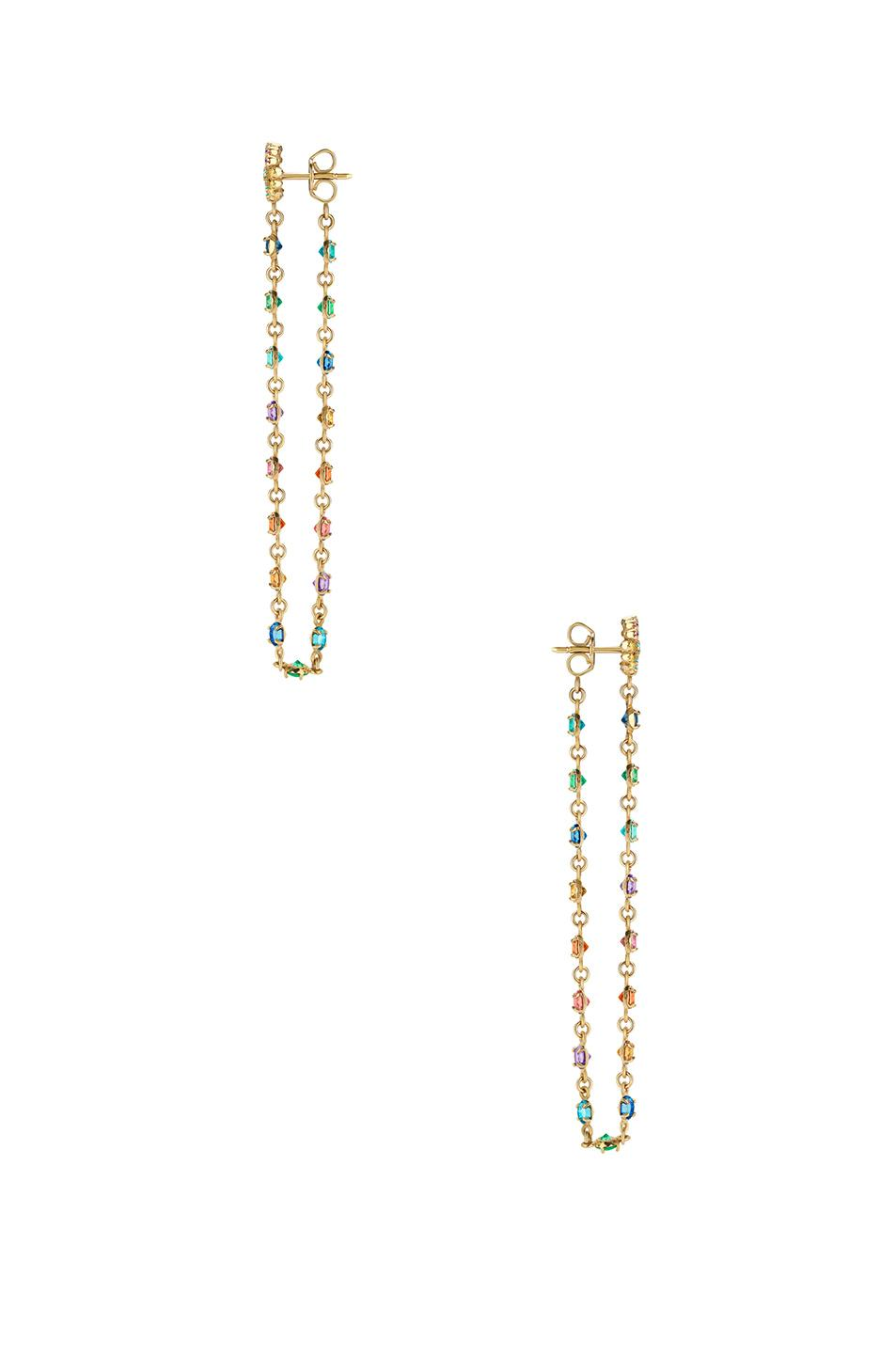 fbc211b7c08 Gucci Double-G Multistone Chain Stud Earrings In 18Kt Yellow Gold    Multicolor
