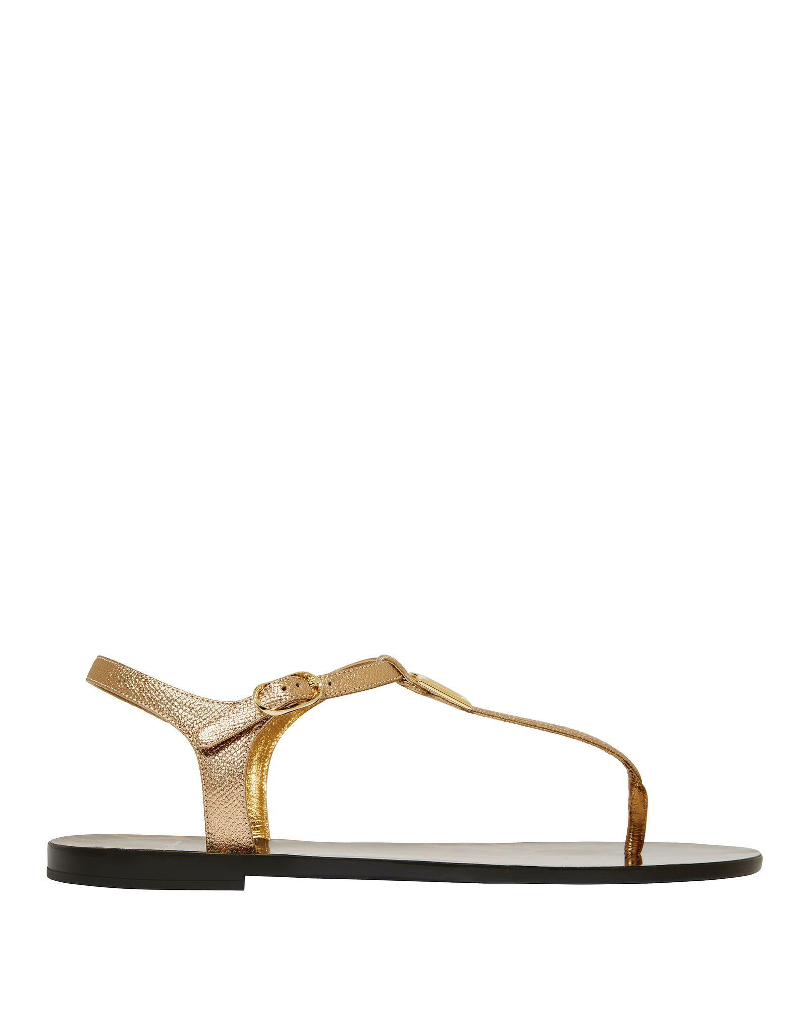 f8a31bf4899 DOLCE   GABBANA. Logo-Embellished Metallic Textured-Leather Sandals in Gold