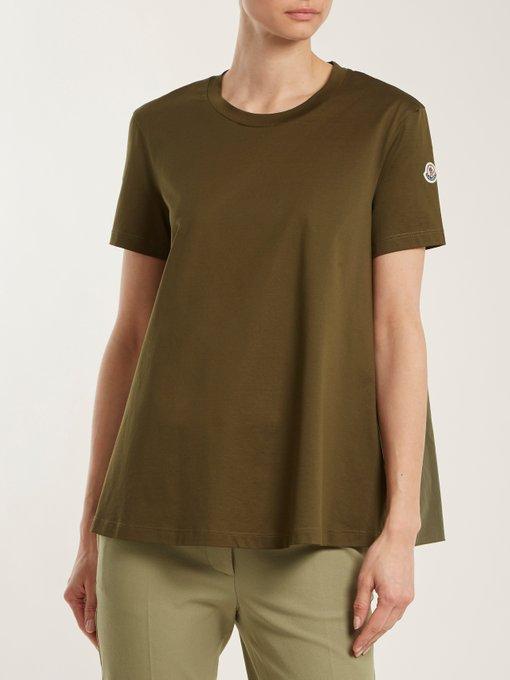 504e27d7a Moncler - Ruffle Trimmed Cotton T Shirt - Womens - Khaki