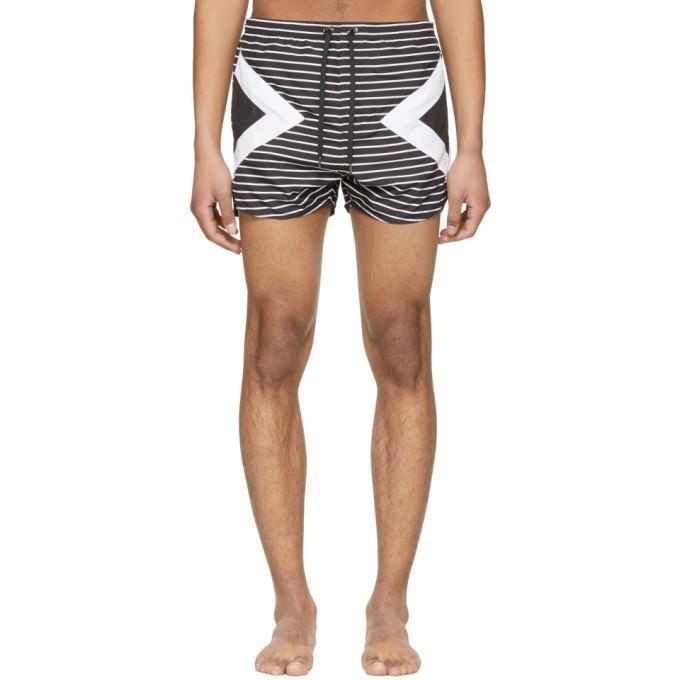2f32d0b942 Neil Barrett Black And White Modernist Striped Swim Shorts In 524 ...