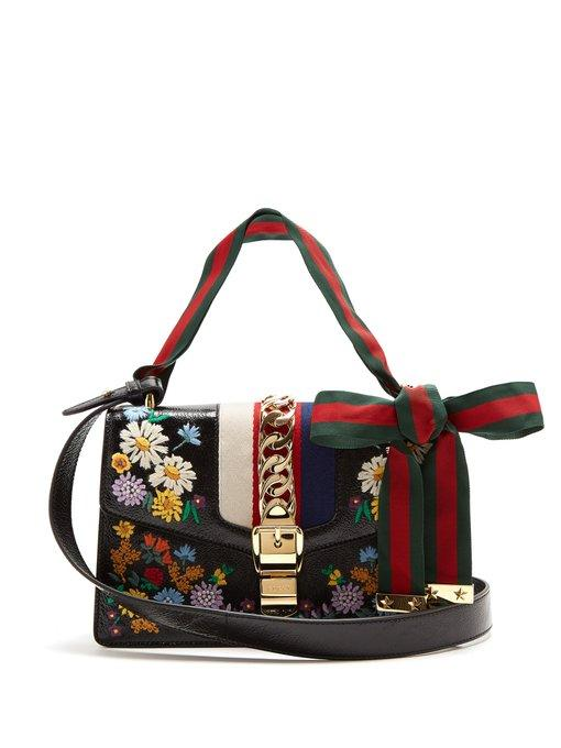 8d0c07ab9cf0 Gucci Sylvie Embroidered Leather Shoulder Bag In Multicoloured Floral  Embroidered