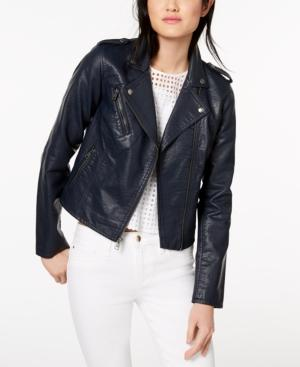 cd6a4e0c5 Faux-Leather Moto Jacket in Navy