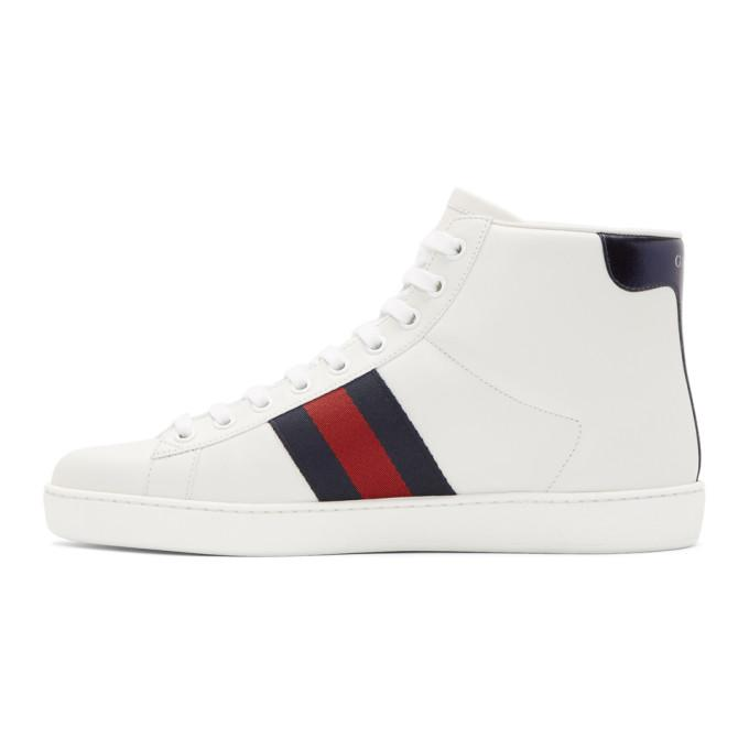 0cb2331a586 Gucci Ace Bee-Embroidered High-Top Leather Trainers In White .