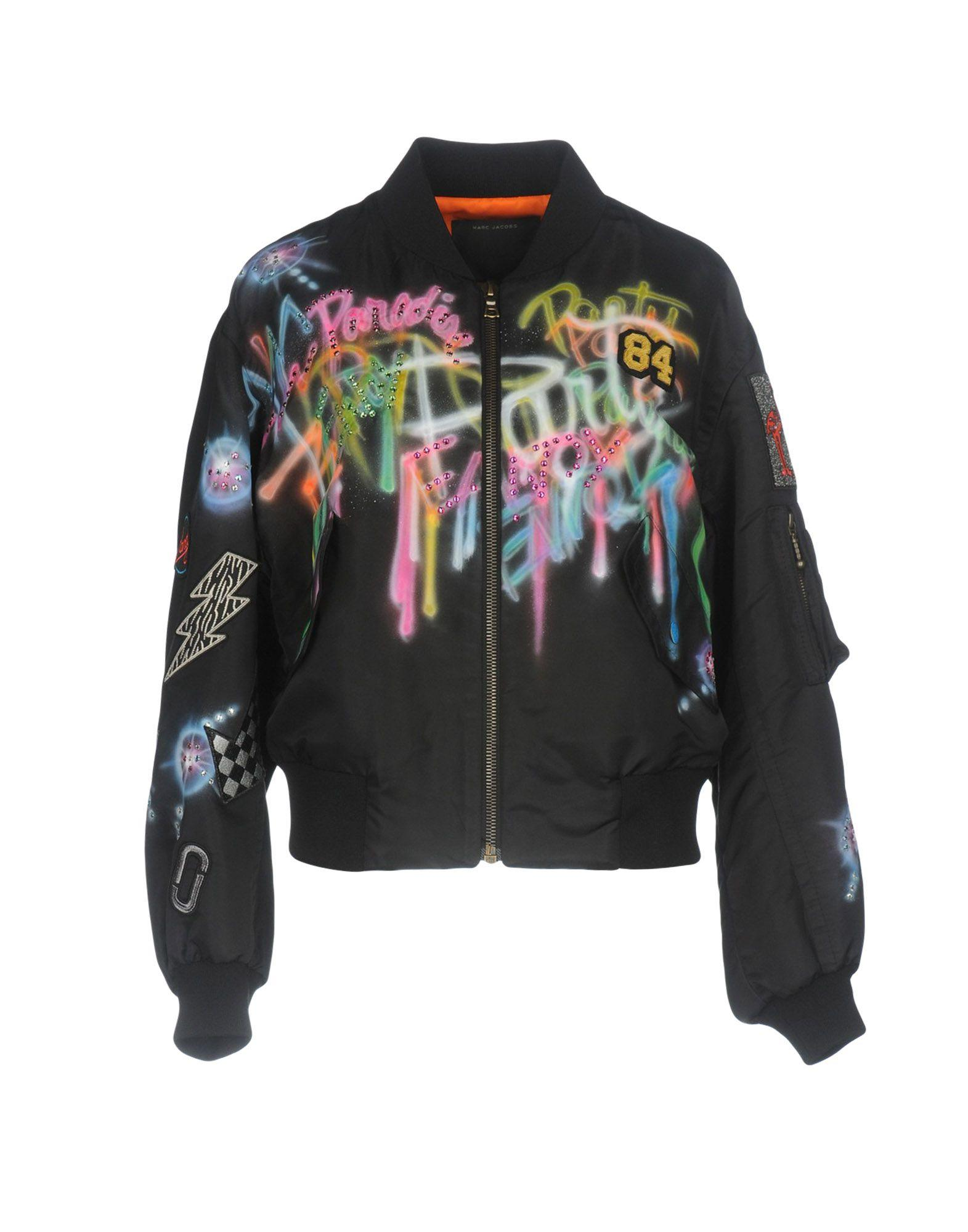 360e5b0a941b Marc Jacobs Embellished Graffiti Print Shrunken Bomber Jacket In Black