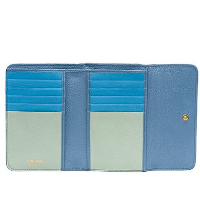 79aa328ab7f8 Miu Miu Single Color Madras Leather Wallet In Astral Blue Dew