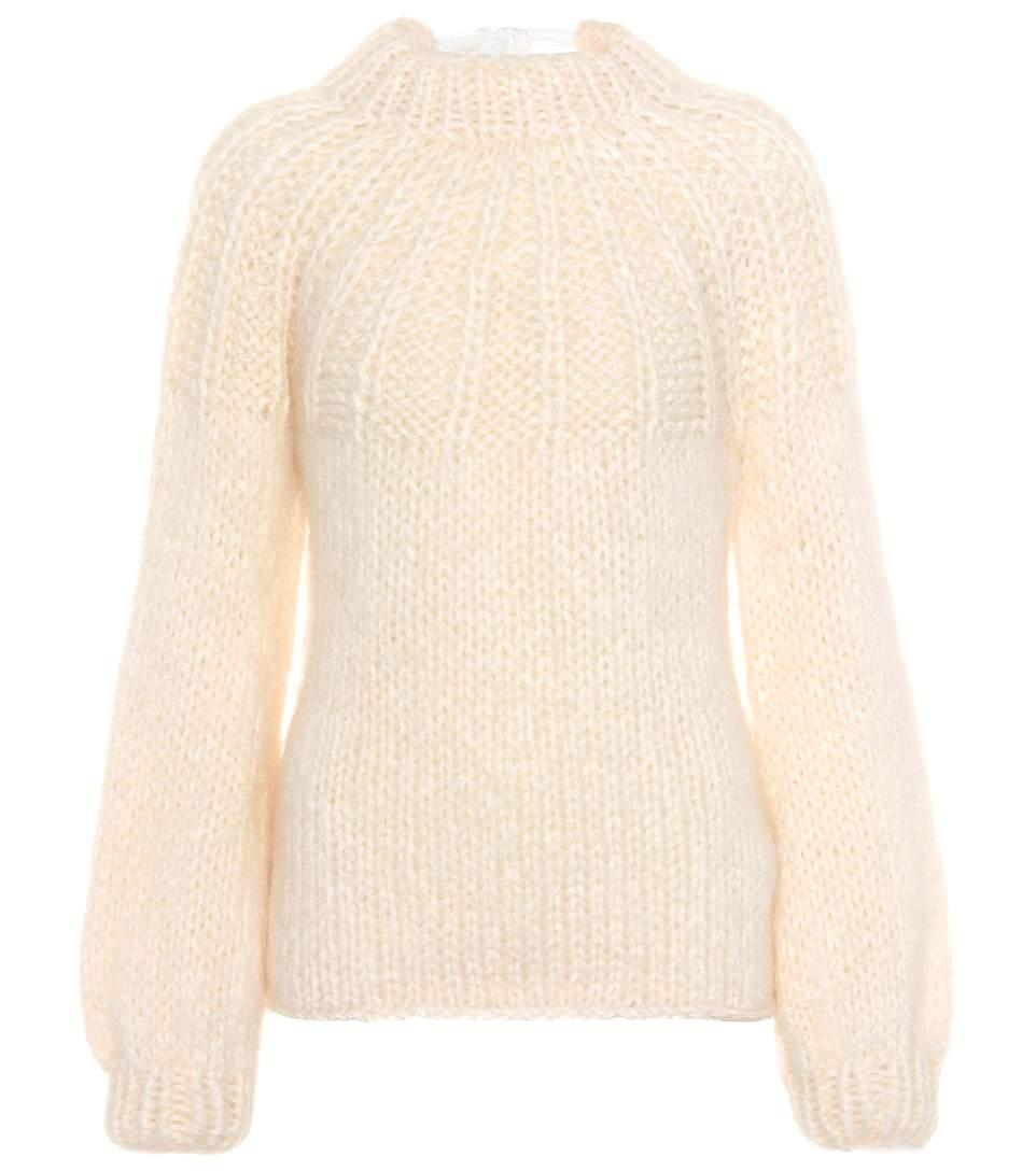 e8bd3dd203 Ganni Julliard Mohair And Wool Sweater In White