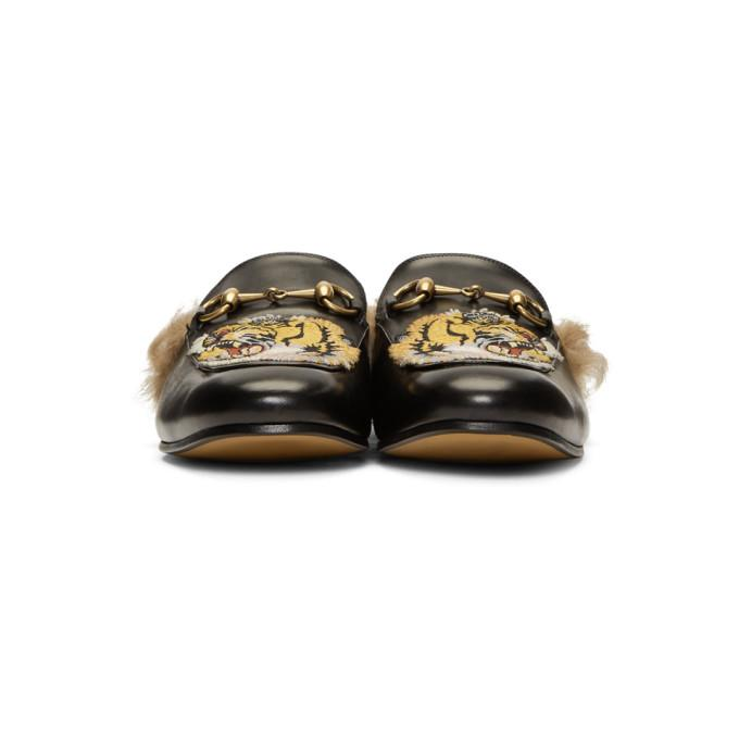 Gucci Princetown Tiger Appliqueleather Slipper In Black