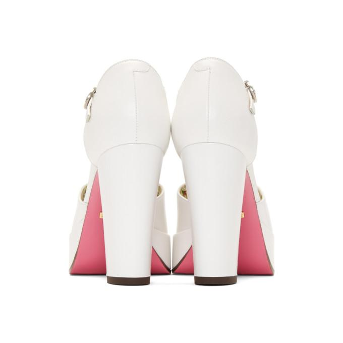 761117bd1a4 Gucci Embellished Platform Pumps In White