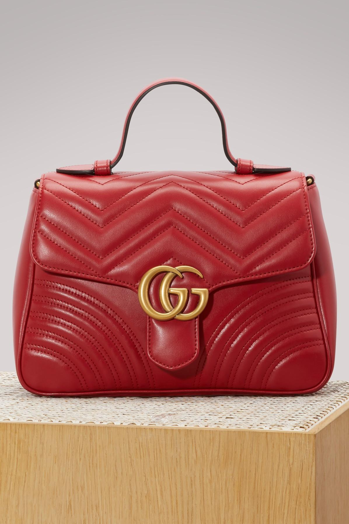 2bd5a49217d Gucci Gg Marmont Small Chevron Quilted Top-Handle Bag With Chain Strap In  6433 Hibiscus