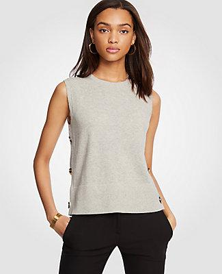 Petite Side Button Sleeveless Sweater In Countryside Grey Melange