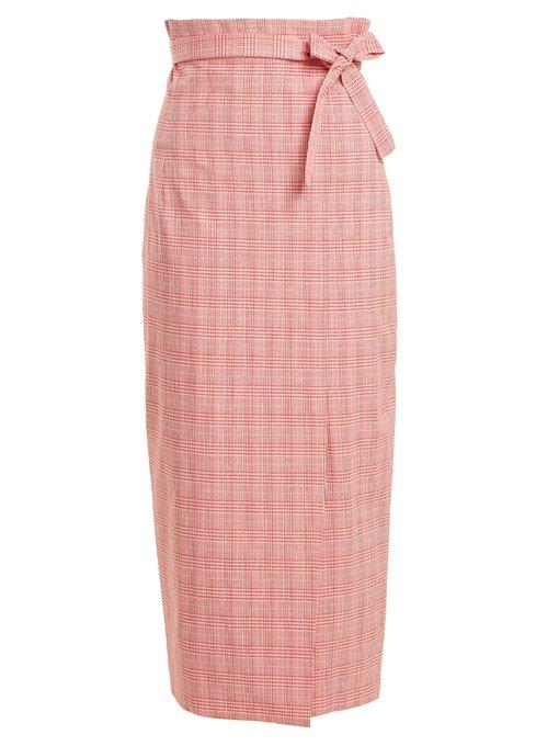 e989d4d90 Stella Jean Checked Tie-Waist Cotton-Blend Pencil Skirt In Red ...