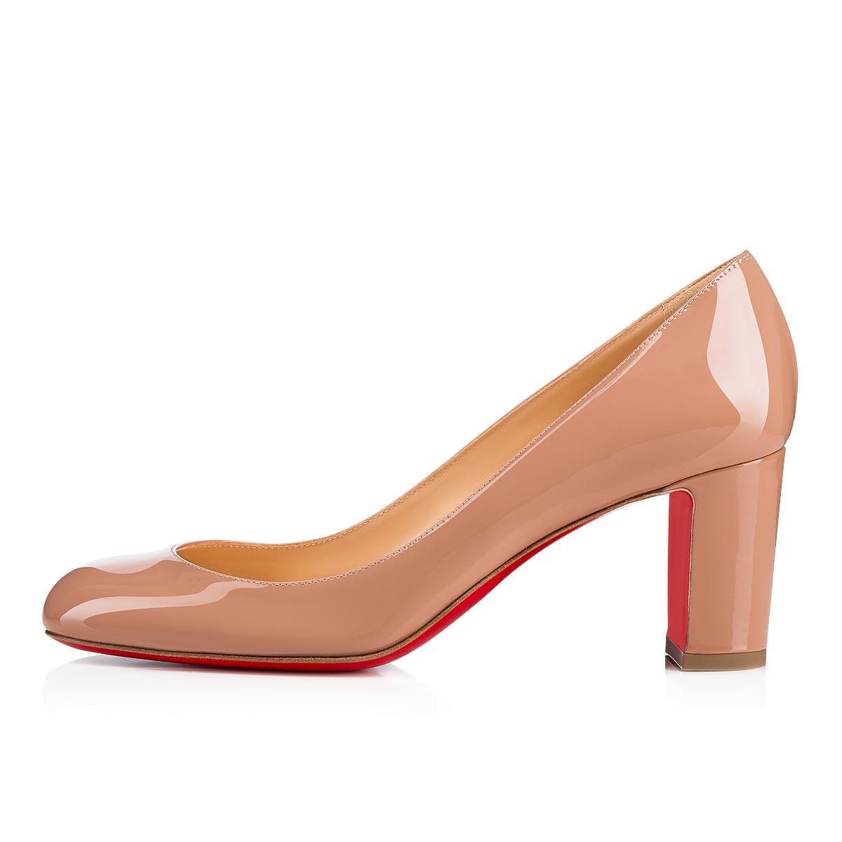 bede936c660e Christian Louboutin Cadrilla Patent Block-Heel Red Sole Pump In Nude ...