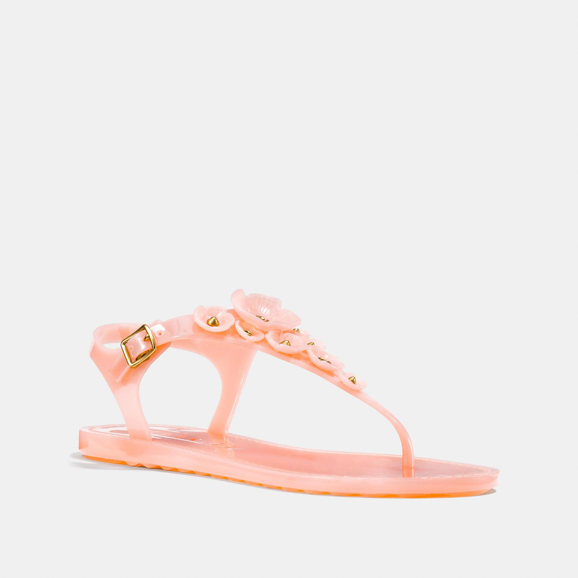 366c08fd7 Coach Tea Rose Jelly Flat Sandals