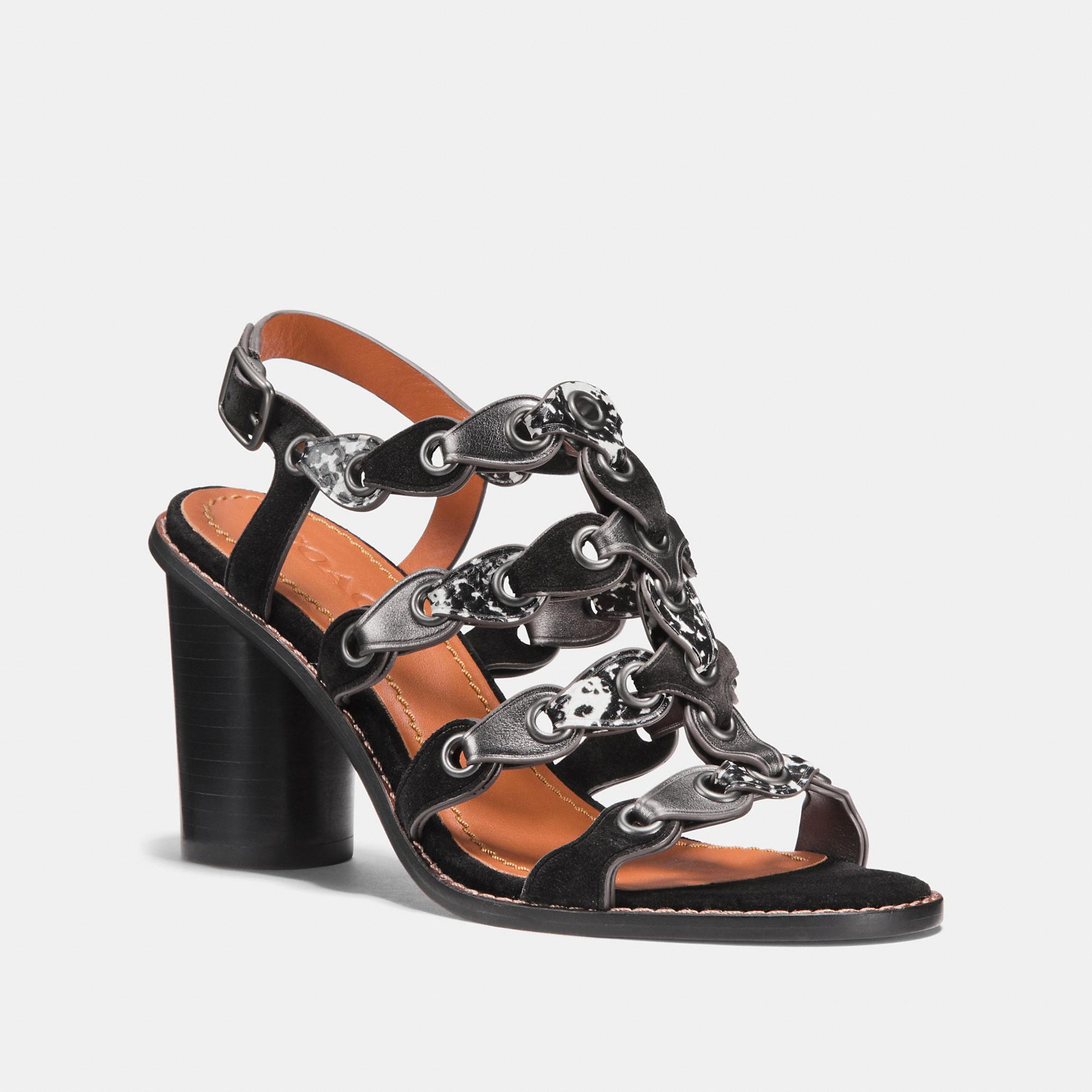 933d55996dd Coach Mid Heel Sandal With Link - Women s In Black Black White Gunmetal