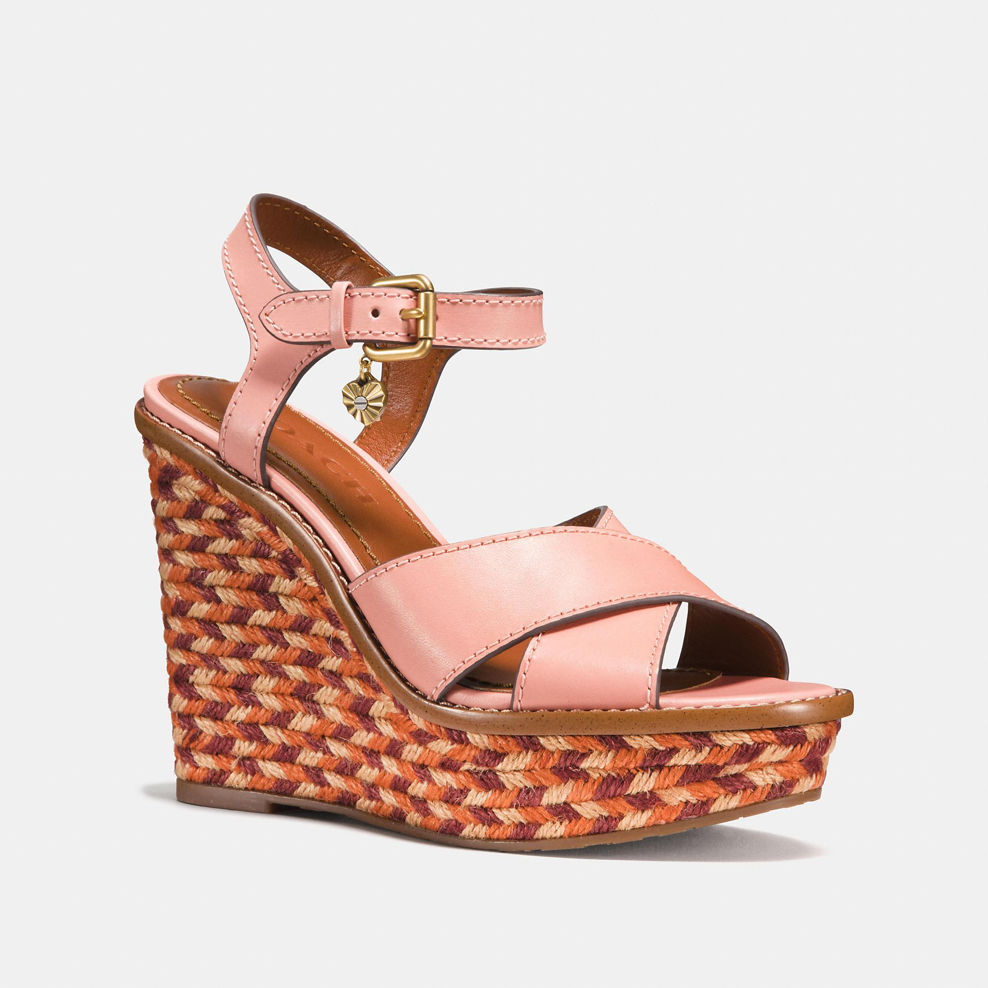 55020937948 Coach Cross Band High Wedge Sandal In Peony