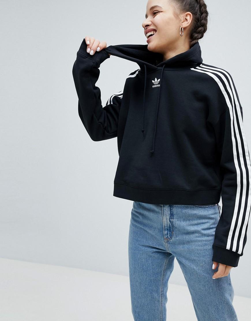 adidas Originals Adicolor 3 Stripes Cropped Hoodie