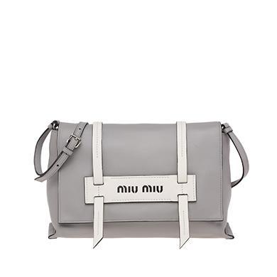 ef3ea434dbc3 Miu Miu Grace Lux Leather Shoulder Bag In Cloudy Gray+White