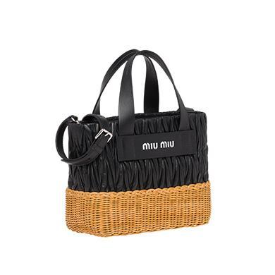 cfbbc5fff47 Miu Miu Nappa Leather And Wicker Bag In Black Honey